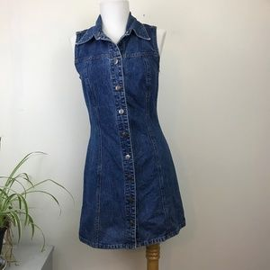 Vintage 90s Button Down Front Collared Denim Dress
